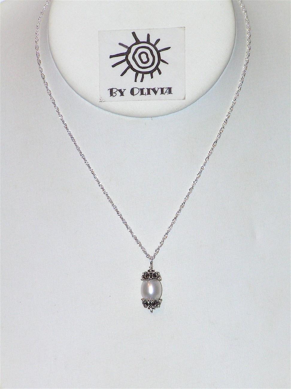 Silver Bali Pearl Necklace