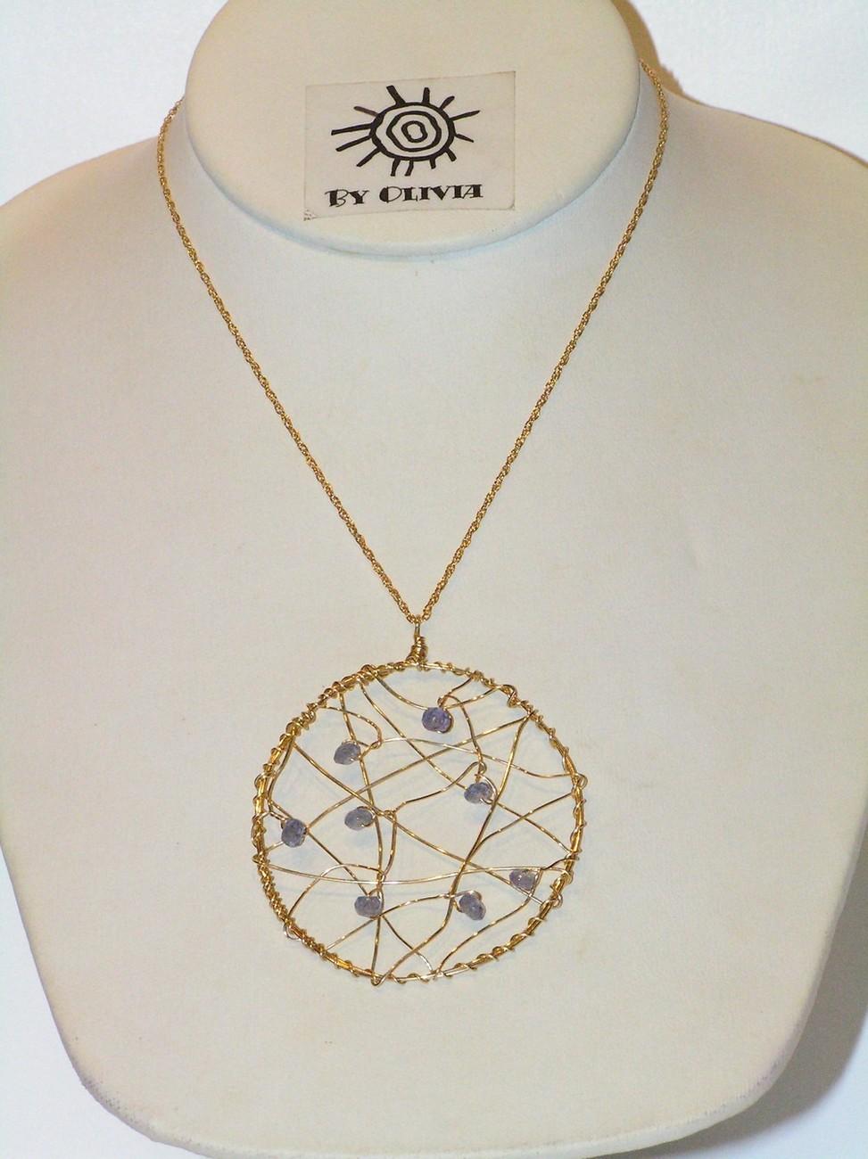 Gold Tanzanite Dream Catcher Necklace