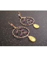 Gold Amethyst Dream Catcher Earrings - $56.00