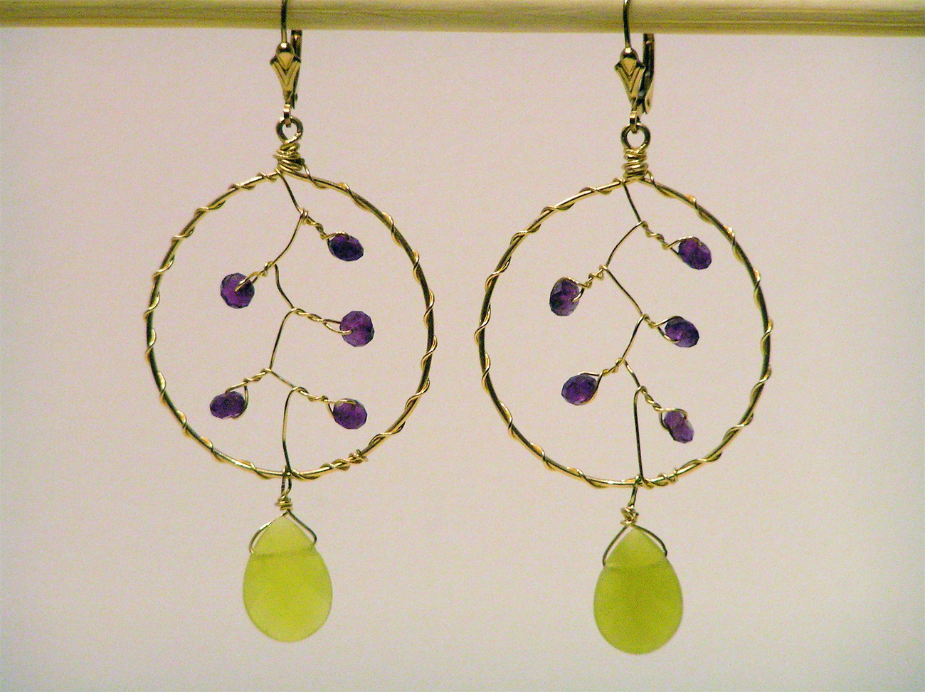 Gold Amethyst Dream Catcher Earrings