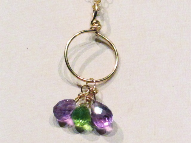 Gold Peridot and Amethyst Briolette Necklace