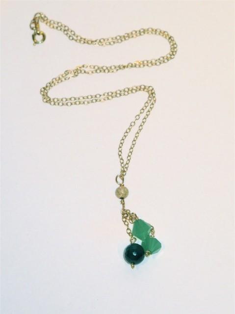 Gold Green Quartz and Green Onyx 'Raindrops' Necklace