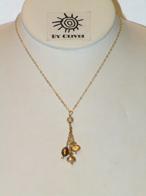 Gold Pearl 'Raindrops' Necklace
