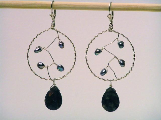 Silver Pearl Dream Catcher Earrings