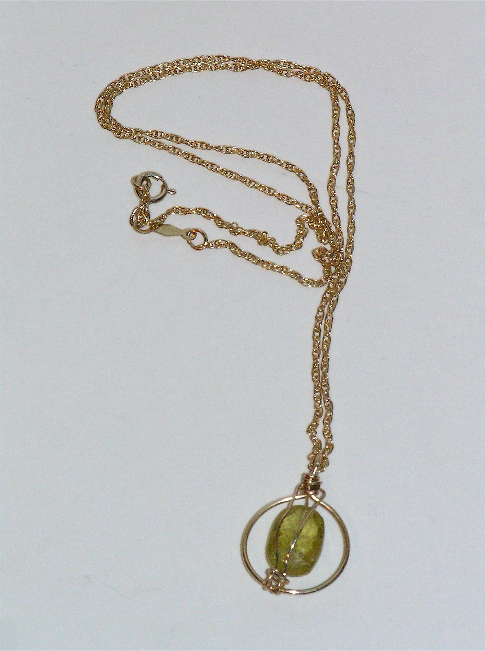 Green Garnet Wrapped Necklace