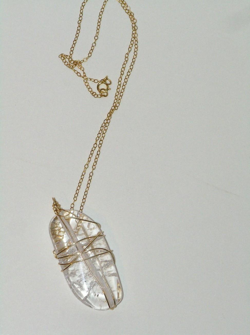 Gold Crackled Quartz Wrapped Necklace