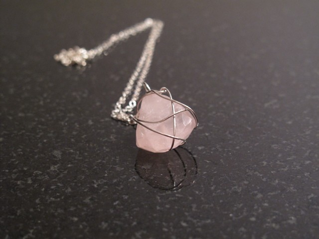 Silver Rose Quartz Wrapped Necklace