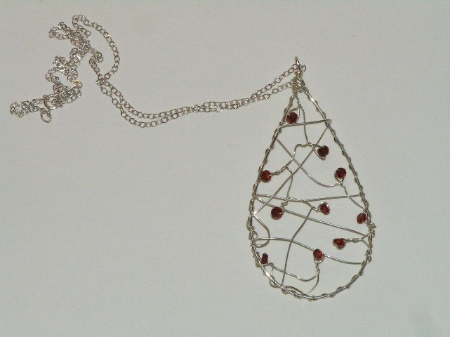 Silver Garnet Dream Catcher Necklace