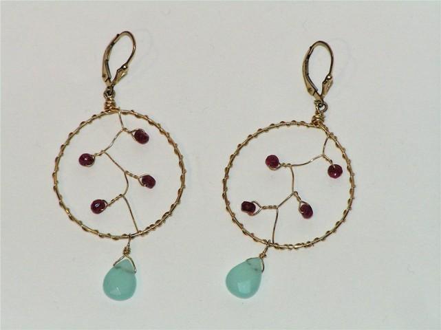Gold Ruby Dream Catcher Earrings