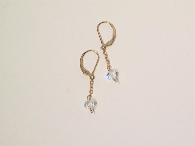 Gold Clear Swarovski Crystal Earrings