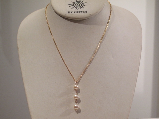 Gold Triple Pearl Necklace