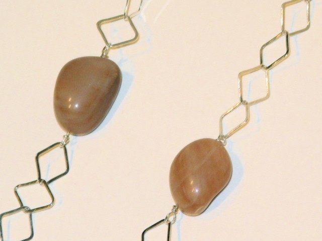 Silver Peach Aventurine Necklace