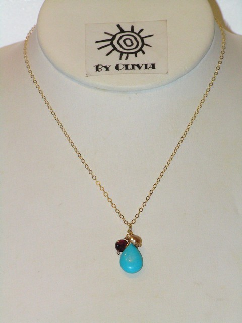 Gold Turquoise Berries Necklace