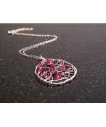 Silver Hot Pink Crystal Dream Catcher Necklace - $52.00