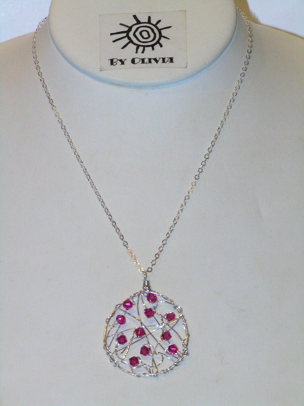 Silver Hot Pink Crystal Dream Catcher Necklace