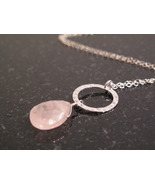 Silver Rose Quartz Circle Necklace - $38.00