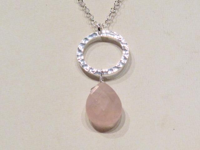 Silver Rose Quartz Circle Necklace