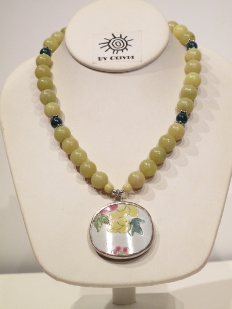 Green Ming Dynasty Pottery Shard Necklace