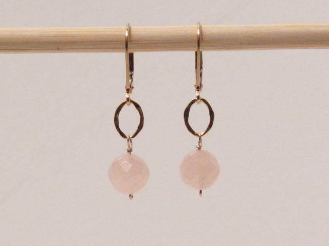 Gold Rose Quartz Earrings