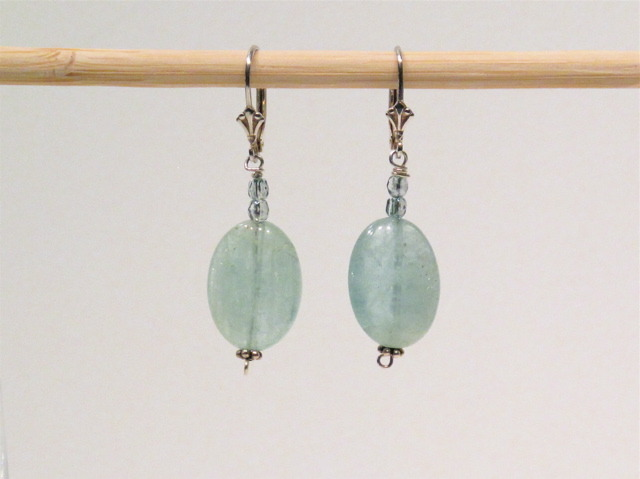 Silver Aquamarine and Crystal Earrings