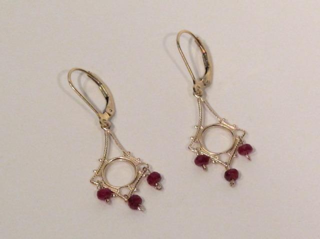 Gold Ruby Chandelier Earrings