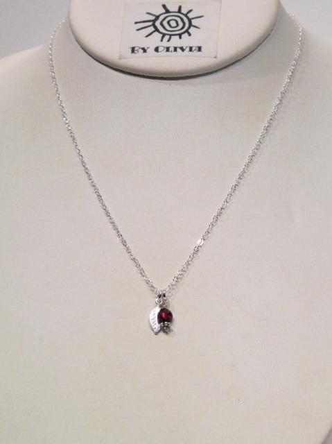 Silver Garnet Leaf Necklace