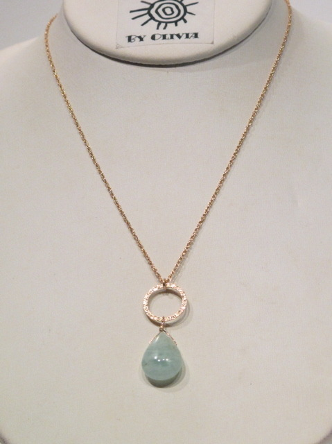 Aquamarine Gold Circle Necklace