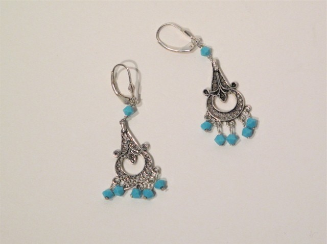 Silver Turquoise Crystal Chandelier Earrings