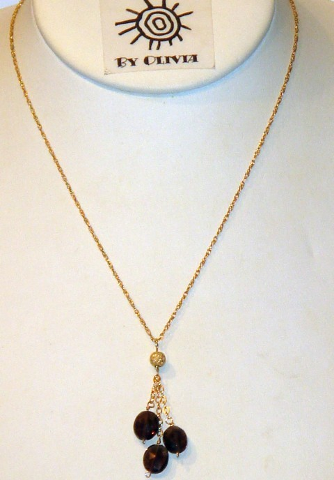 Gold Smokey Quartz 'Raindrops' Necklace
