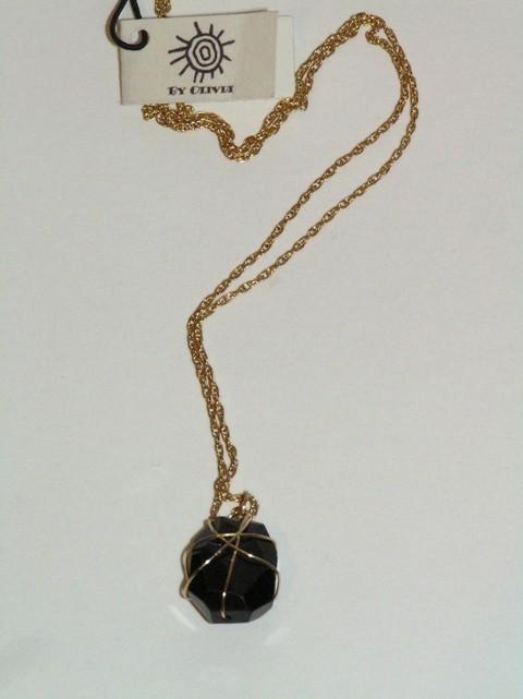Gold Smokey Quartz Wrapped Necklace