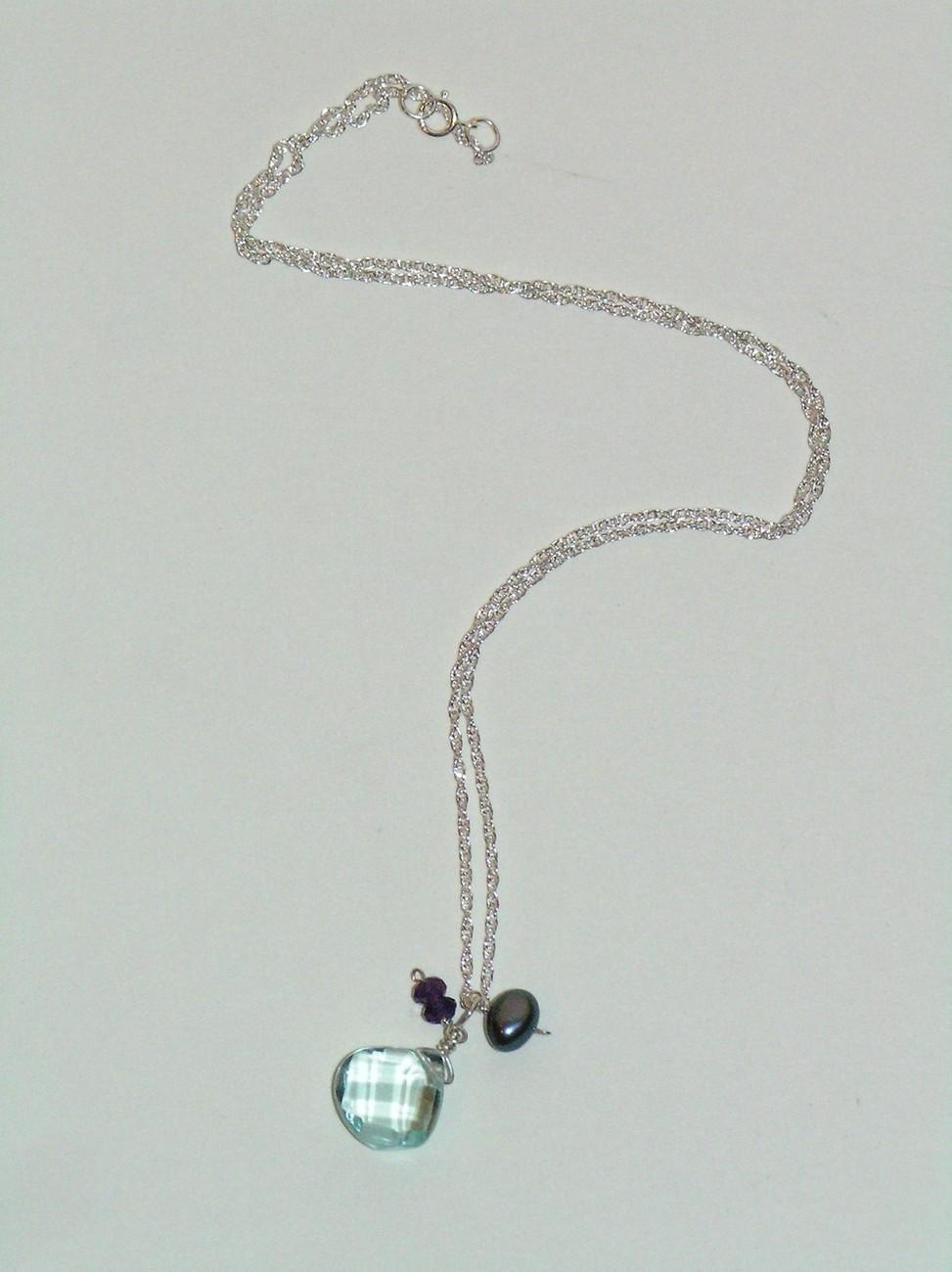 Silver Quartz Berries Necklace