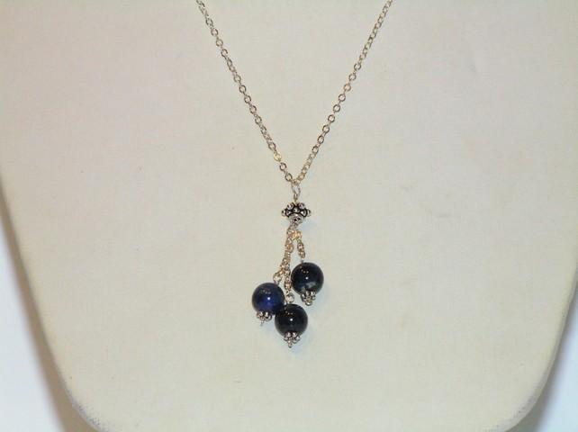 Silver Lapis 'Raindrops' Necklace