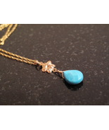 Gold Turquoise Flower necklace - $40.00
