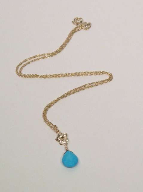 Gold Turquoise Flower necklace