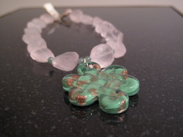 Gold Rose Quartz Murano Glass Necklace - $48.00