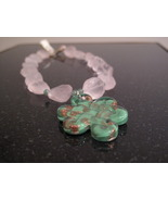 Gold Rose Quartz Murano Glass Necklace - $48.00