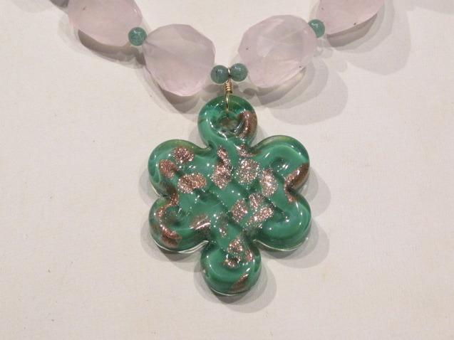 Gold Rose Quartz Murano Glass Necklace
