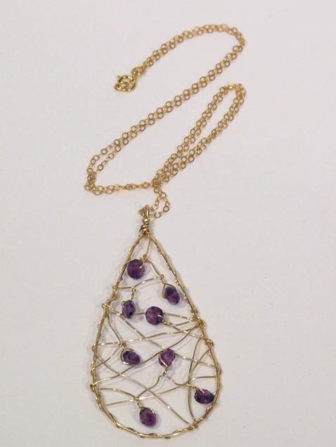 Gold Amethyst Teardrop Dream Catcher Necklace