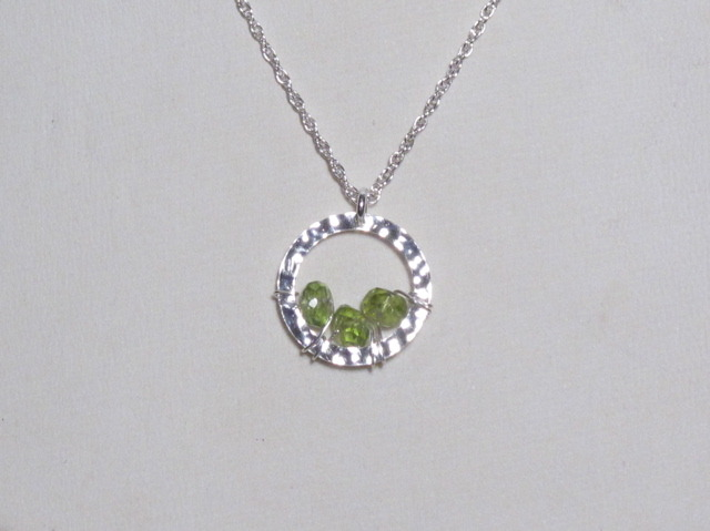 Silver Peridot Circle Necklace