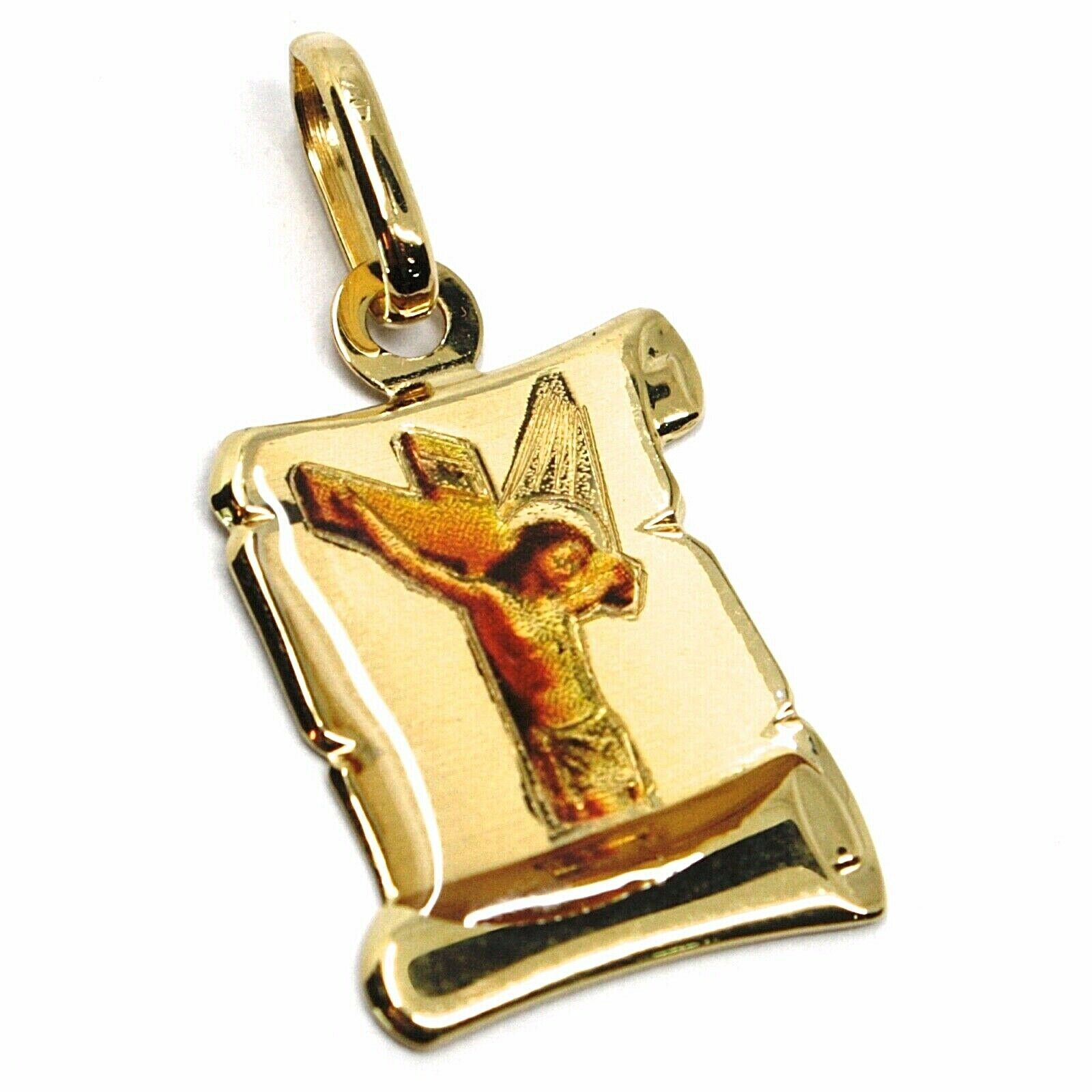 Pendant Medal Yellow Gold 750 18K, Christ in cross, Parchment with Enamel