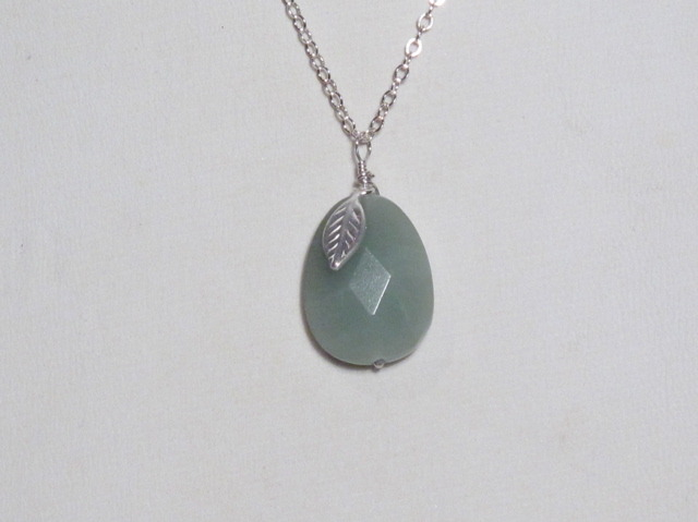 Green Aventurine and Silver Leaf Necklace