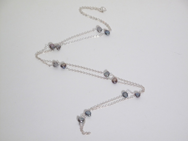 Long Silver Pearl Necklace