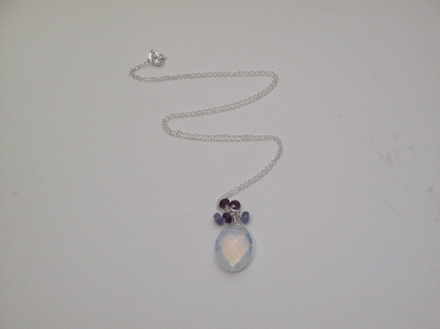 Silver Crystal, Tanzanite and Amethyst Berries Necklace