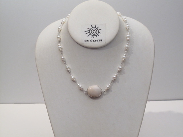 Silver Pearl and Opal Necklace