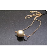 Gold Pistachio Green Shell Pearl Necklace - $30.00