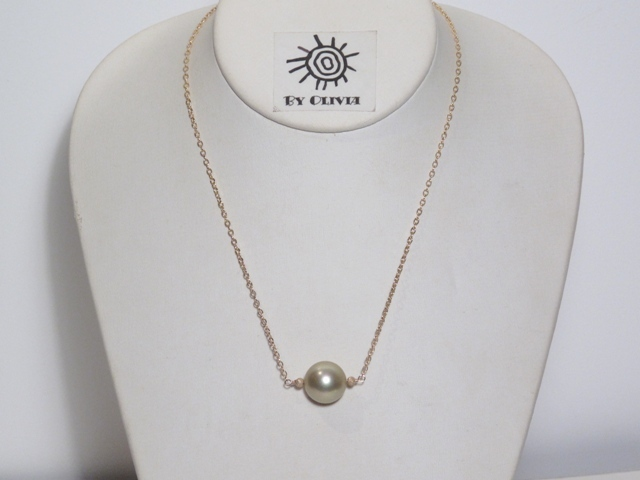 Gold Pistachio Green Shell Pearl Necklace