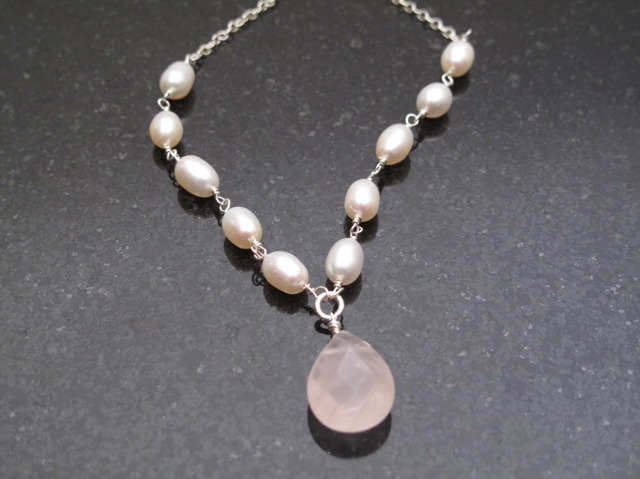 Silver Pearl and Rose Quartz Necklace