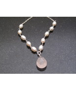 Silver Pearl and Rose Quartz Necklace - $48.00