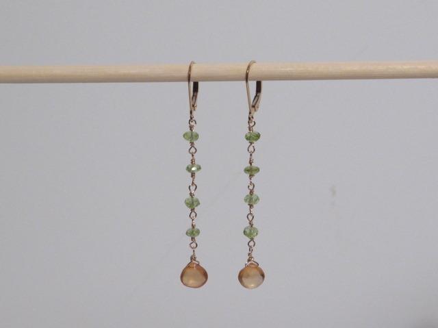 Long gold Peridot and Hessonite Garnet Earrings
