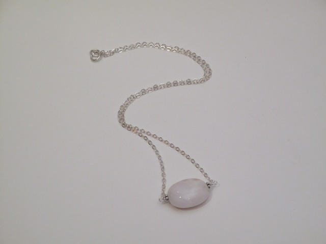Silver Pink Opal Necklace